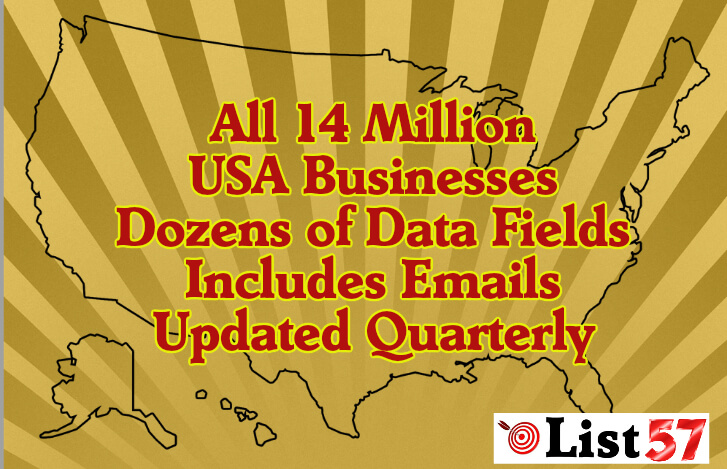 USA Business Database Complete, All 14 Million Complete, Includes Email Plus Dozens of Data Fields List57