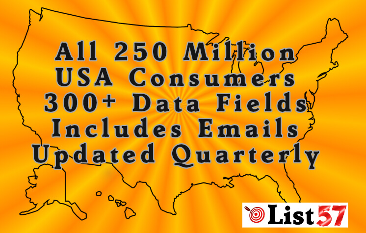 USA Consumer Database Complete, All 250 Million Complete, Includes Email Plus 300+ Data Fields List57