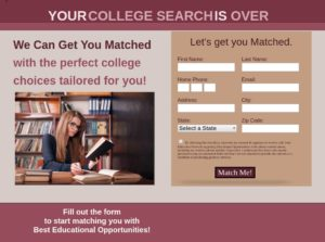 EDU Landing page, college search list, people searching for college, List57